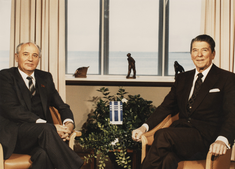 Ronald Reagan and Gorbachev in Reykjavik.